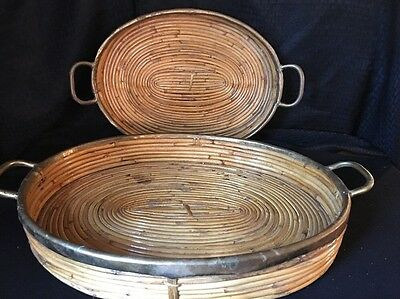 2 Large Mid Century Bamboo Brass Serving Tray w/ Handles