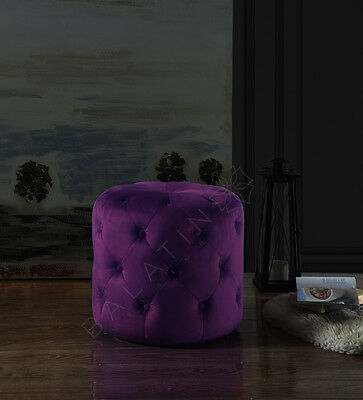 Black Friday Mega Sale! Circle Dove Buttoned Stool In Velvet Various Colors