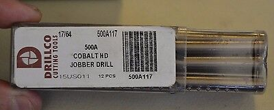 12 Drillco 17/64 Cobalt Heavy Duty Jobber Length Drill Bits, 500A117, Usa Made