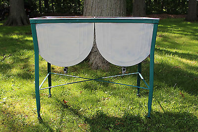 Vintage Double Wash Tub Galvanized Sink With Stand  w/ Wheels Dented Rusty