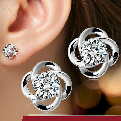Beautiful New 925 Silver Plated CZ Flower Stud Post Earrings