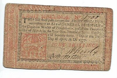 April, 1777 Pennsylvania Colonial Note 8 Shilling Note #1700