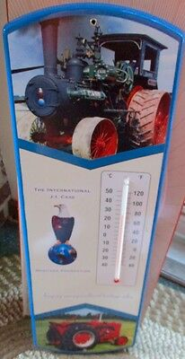 Way Cool J.I. CASE TRACTORS Large Metal THERMOMETER....MINT IN BOX!!