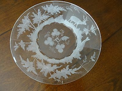 """Antique MOSER CRYSTAL """"THE DEER"""" in the Woods Under Plate CZECH Bohemian Glass"""
