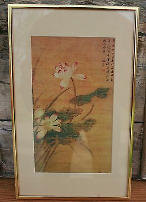 Vintage Chinese Hand Painted on Silk Framed Flowers Picture