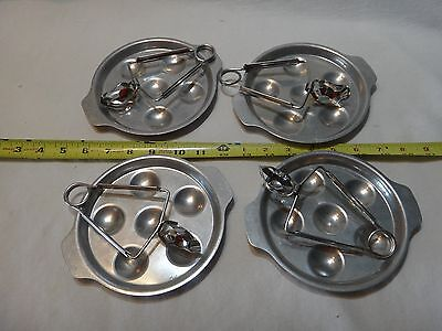 Tournus Unis France Escargot Aluminum Plates and Tongs Set of 4 each