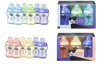 New 6x Tommee Tippee  260ml 9oz Feeding Bottles Boys or Night / Girls BBA FREE