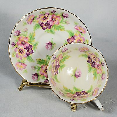 Royal Chelsea Teacup & Saucer - Pink & Purple Cosmos - Like Flowers