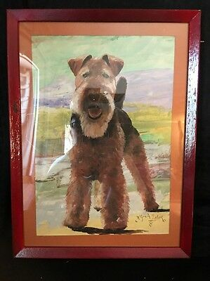 Vintage Painting  Of Airedale Terrier By Alfred Zeller