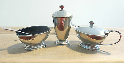 ANTIQUE Edwardian SOLID Sterling 3PC SILVER  CRUET SET 1906  CHESTER JD+Sons