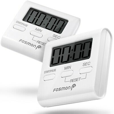 Fosmon 2x Digital LCD Magnetic Kitchen Timer Cooking Alarm Stand Count Up Down