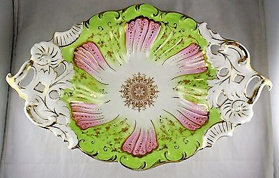 CT German Porcelain Carl Tielsch Hand Painted Handled Bowl - Rococo Style