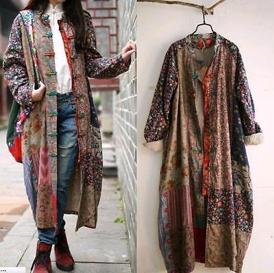 Folk Womens Retro Cotton Linen Maxi Long Sleeve Floral Loose Casual Dress Coats