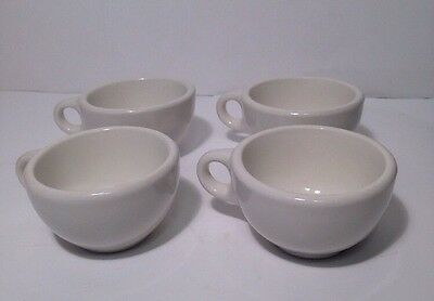 Lot of 4 Vintage Wallace China Diner Coffee Tea Mugs Cups White Heavy Duty USA