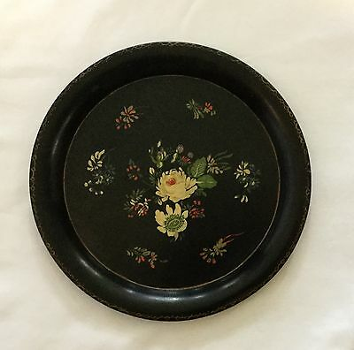 Vintage Hand Painted Black Floral Pattern Round Tole Tray