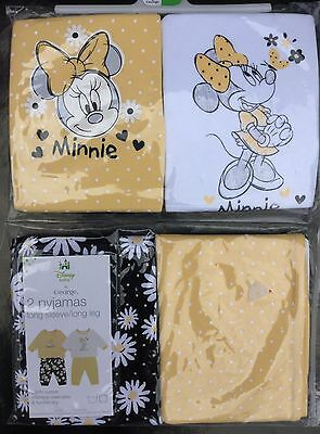 2 pack Baby Girl Interchangeable Pyjamas in Yellow with Minnie Mouse detail