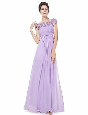 Womens Lace Long Evening Dress Formal Party Cocktail Bridesmaid Prom Gown US 14