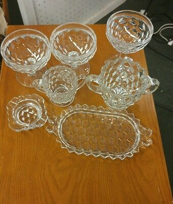 Perfect Condition!! Antique Fostoria Americana Crystal LOT 7 Pieces