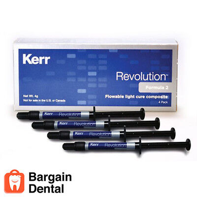 Kerr REVOLUTION Formula 2 Flowable Light Cure Composite 1g A3 Syringe 4 Pack