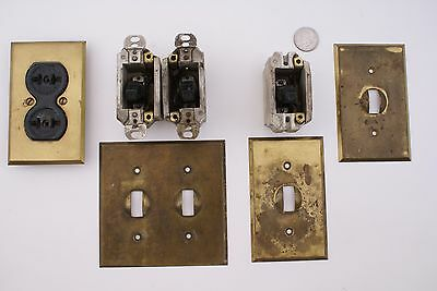 Antique Ge Light Switches. Brass Covers & Hubbell Porcelain & Brass Plug 7 Pcs