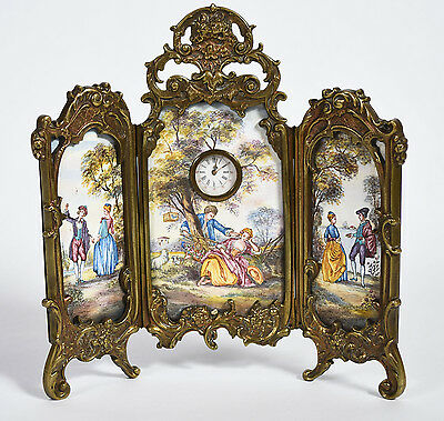Antique Austrian Enameled Miniature 3-Panel Screen Courting Couples Inset Clock