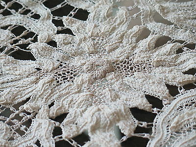 Vtg Antique French Miracourt Handmade Cotton Lace Table Runner Rare Unique