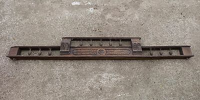 """Antique French Carved Solid Oak Wooden Pediment / Furniture Finial Trim 52"""" Long"""