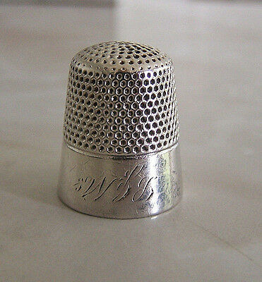 ANTIQUE KETCHAM McDOUGALL STERLING SILVER THIMBLE SZ. 9 BAND INITIALS W??
