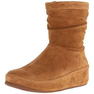Fitflop 6296 Womens Crush Tan Suede Casual Wedge Boots Shoes 8 Medium (B,M) BHFO