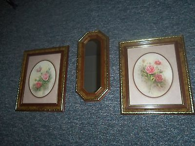 Home Interiors Bouquet of Roses Framed Prints W/Match. Mirror~Signed~Wyona Newt