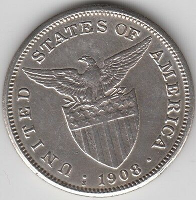 Coin 1908 Philippines 1 Peso United States of America in EF condition, nice