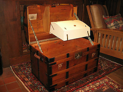 1860s ANTIQUE DOME TOP RESTORED CHEST STAGE COACH TRUNK A+ INTERIOR