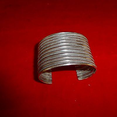 "Rare Ca 1890 Native American Navajo Indian 1 3/4"" Wide Bracelet From Silver Bar"