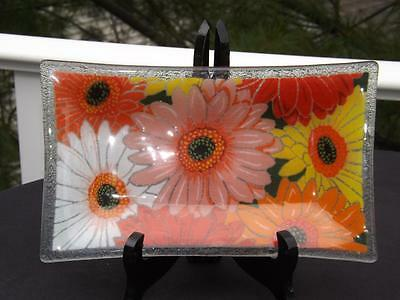 """Peggy Karr Daisy Bouquet Tray Dish 10"""" x 6"""" Mint Condition Signed"""