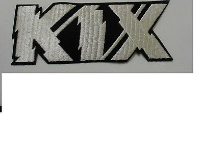 """set of 2 large KIX PATCH EMBROIDERED 80'S METAL-IRON ON PATCH- 8"""" OFFICIAL"""