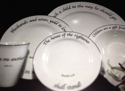 Scripture China-4 Place Settings-Feed On The Word-Family & Children-New