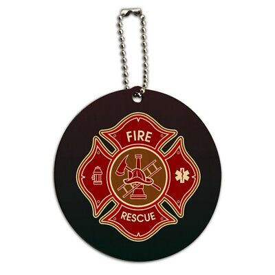 Firefighter Fire Rescue Maltese Cross Round Wood Luggage Card Carry-On ID Tag
