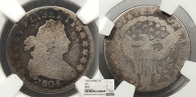 1805 Draped Bust 10 Cents (Dime) 4 Berries; JR-2 NGC AG-3