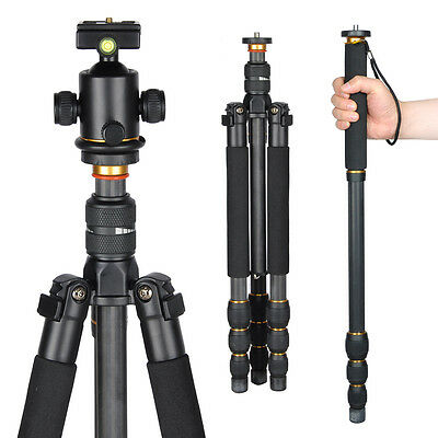 "Professional 62"" Carbon Fiber Tripod Monopod w/Ball Head For DSLR Camera Travel"