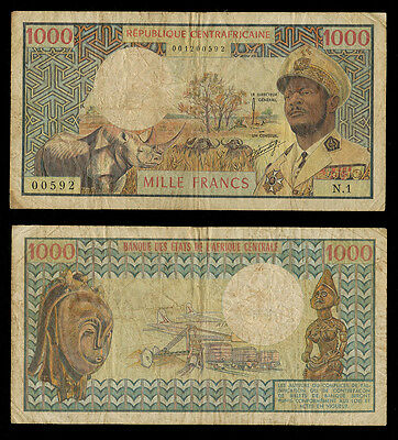 CENTRAL AFRICAN REPUBLIC 1974 1000 Francs Fine P-2