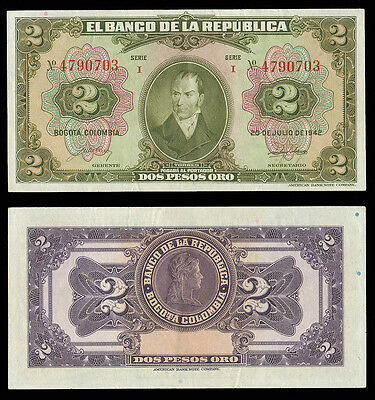 COLOMBIA 20 July 1942 2 Pesos Oro AU P-390a