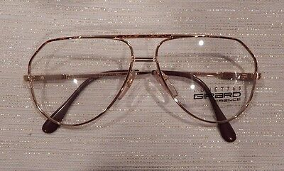 Vintage Girard 392 Gold Amber 54 Eye Aviator Metal Eyeglass Frame New/Old Stock