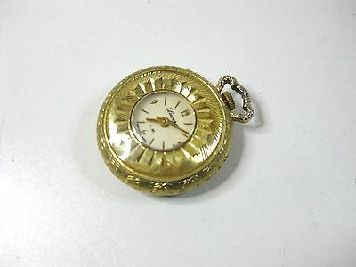 Vintage gold tone ornate pendent watch Lucerne swiss made Working order
