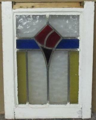 """OLD ENGLISH LEADED STAINED GLASS WINDOW Pretty Abstract Geometric 14"""" x 18.5"""""""
