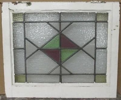 """OLD ENGLISH LEADED STAINED GLASS WINDOW Abstract Geometric Diamond 22.5"""" x 19"""""""