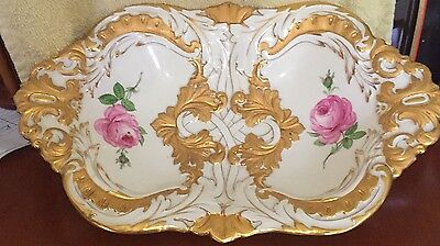 Meissen Two Tone Gold Encrusted Oval Bowl Hand Painted Roses Crossed Swords