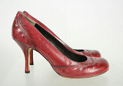 Max Studio Red Leather Round Toe High Heel Slip On Pumps Shoes Size 7.5M