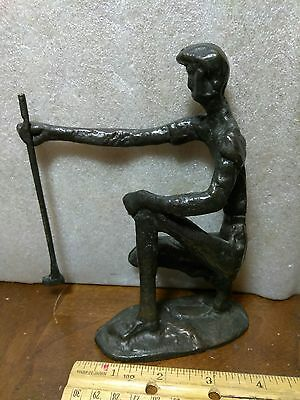 A Vintage Bronze Or Brass Statue Of A Golfer Lining Up His Putt,  Cool Piece!
