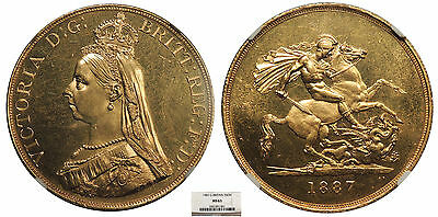 GREAT BRITAIN Victoria 1887 5 Pounds NGC MS-63