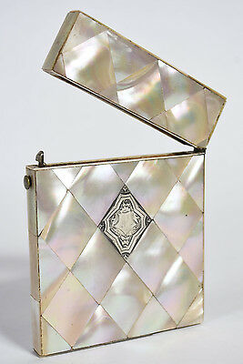 Antique Victorian Mother of Pearl Calling Card Case w/ Sterling Silver Cartouche